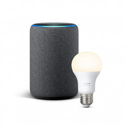 Echo Plus (2nd generation) - Antracit + Philips Hue White Light bulb
