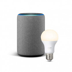 Echo Plus (2nd generation) - Heather Gray + Philips Hue White Light bulb