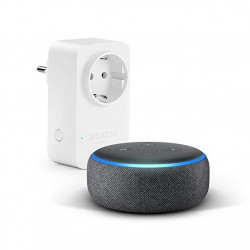 Echo Dot (3rd generation) - Anthracite fabric + Amazon Smart Plug, compatible with Alexa